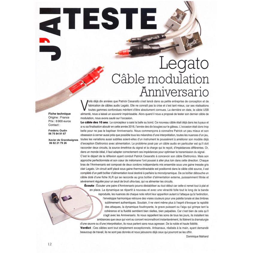 Banc d'éssai du câble Legato Anniversario