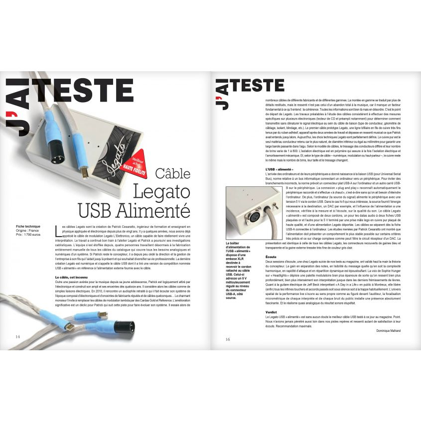 Cable LEGATO Referenza Superiore USB alimentation HH235